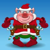 Merry Christmas pig cowboy with candy royalty free illustration