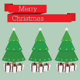 Merry christmas and pine with snowflake Royalty Free Stock Photo