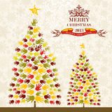 Merry Christmas pine tee hands card Royalty Free Stock Photos