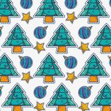 Merry christmas pine tree and ball decoration background. Vector illustration Stock Images