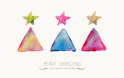 Merry Christmas pine tree watercolor greeting card. Merry Christmas greeting card with colorful hand drawn tree watercolor texture illustration. EPS10 vector Stock Image