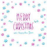 Merry Christmas pink glittering lettering design. Vector illustration EPS 10 Stock Photography