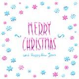 Merry Christmas pink glittering lettering design. Vector illustration EPS 10 Stock Photography