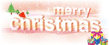 Merry Christmas Pink Text/Vector Royalty Free Stock Image