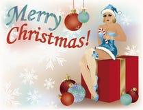 Merry Christmas pinup santa girl poster, vector Stock Photos