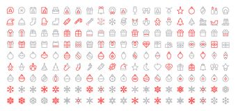 Merry Christmas Pixel Perfect Big Set 180 icons Well-crafted Vector Thin Line Icons 48x48 Ready for 24x24 Grid for Web. Graphics and Apps with Editable Stroke Royalty Free Stock Images