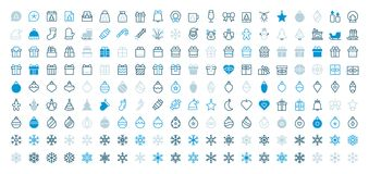 Merry Christmas Pixel Perfect Big Set 180 icons Well-crafted Vector Thin Line Icons 48x48 Ready for 24x24 Grid for Web. Graphics and Apps with Editable Stroke Royalty Free Stock Photos