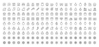 Merry Christmas Pixel Perfect Big Set 180 icons Well-crafted Vector Thin Line Icons 48x48 Ready for 24x24 Grid for Web. Graphics and Apps with Editable Stroke Stock Image
