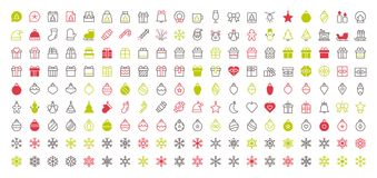 Merry Christmas Pixel Perfect Big Set 180 icons Well-crafted Vector Thin Line Icons 48x48 Ready for 24x24 Grid for Web. Graphics and Apps with Editable Stroke Stock Photo