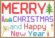 Merry Christmas in Pixels Stock Images