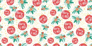 Free Merry Christmas Poinsettia Flower Vector Pattern Seamless. Repeating X-mas Background With Florals And Stars Red Green Stock Photography - 198403082