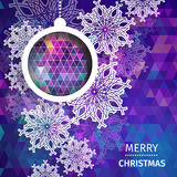 Merry Christmas polygonal background with snowflakes Royalty Free Stock Image