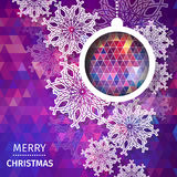 Merry Christmas polygonal background with snowflakes, Stock Photo