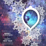 Merry Christmas polygonal background with snowflakes Royalty Free Stock Photos