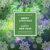 Merry Christmas polygonal background with snowflakes Royalty Free Stock Photography