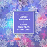 Merry Christmas polygonal background with snowflakes Stock Photo