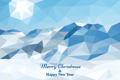 Merry Christmas polygonal card. Low poly background. Vector. Merry Christmas polygonal greeting card. Winter landscape background with mountains. Low poly Royalty Free Stock Images