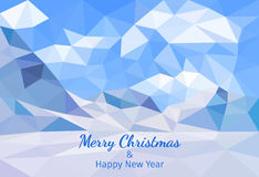 Merry Christmas polygonal card. Low poly background. Vector. Merry Christmas polygonal card. Winter landscape background with mountains. Low poly design vector Stock Image