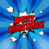 Merry Christmas pop art comic book text. New year, Merry Christmas. Speech comic bubble text halftone blue yellow background. Pop art style vector illustration Royalty Free Stock Photography
