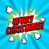 Merry Christmas pop art comic book text. New year, Merry Christmas. Speech comic bubble text halftone blue yellow background. Pop art style vector illustration Royalty Free Stock Image