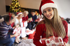 Merry Christmas!. Portrait of he younget girl in the family Royalty Free Stock Images