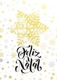 Merry Christmas Portuguese Feliz Natal poster with golden glitter snowflake Stock Image
