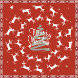 Merry christmas post card with flying deer Stock Photo