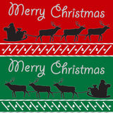 Merry Christmas post card with Santa and deers silhouette red green Background Royalty Free Stock Photos
