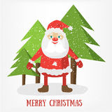 Merry Christmas post card template. Vector Illustration of Santa Claus. Stock Photography