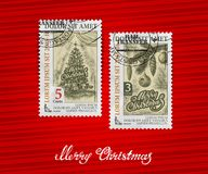 Merry Christmas. Postage stamp. Postage stamp. Christmas and New Year. Vector greeting card Stock Photos