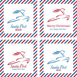 Merry Christmas postal stamps Royalty Free Stock Image