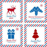 Merry Christmas postal stamps Royalty Free Stock Photography