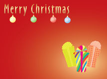 Merry Christmas postcard. Red Merry Christmas postcard with presents vector illustration Royalty Free Stock Photos