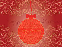 Merry Christmas postcard. Merry Christmas posstcard with red Christmas ball vector illustration Stock Images