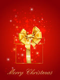 Merry christmas postcard background with gift gold Stock Images