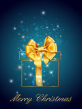 Merry christmas postcard background with gold gift Stock Image