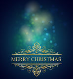 Merry christmas postcard background with gold Stock Photos