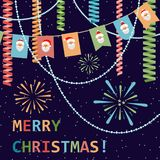 Merry Christmas! Greetings in flat style. Festive background. Ve. Merry Christmas! Postcard with a banner of flags with Santa Claus, beads, streamers and Stock Images