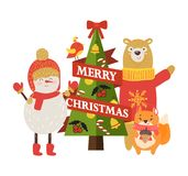 Merry Christmas Postcard with Cartoon Characters. Snowman in warm hat and scarf, bear in red sweater, squirrel with acorn and decorated tree vector Royalty Free Stock Image