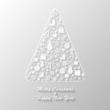 Merry Christmas postcard. Merry chritmas postcard with silver fir tree Stock Images
