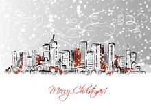 Merry christmas postcard with cityscape background Stock Photography
