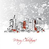 Merry christmas postcard with cityscape background Stock Image