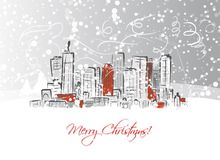 Merry christmas postcard with cityscape background Royalty Free Stock Photos