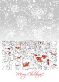 Merry christmas postcard with cityscape background Royalty Free Stock Images