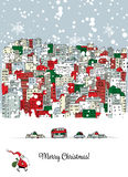 Merry christmas postcard with cityscape background Stock Images