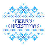Merry Christmas Postcard . Cross-stitch. Traditional embroidery ornament. Blue snowflakes. Happy New year 2017. Vector illustration Stock Photo