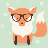 Merry Christmas postcard with cute hipster orange fox wearing  Royalty Free Stock Images