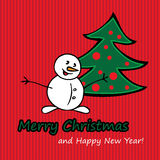 Merry Christmas postcard with fir and snowman. Royalty Free Stock Image