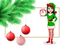 Merry Christmas postcard with fir tree branch, Christmas decorations, hanging balls and beautiful woman in Elf costume. Holding alarm clock. Vector illustration vector illustration