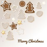 Merry Christmas postcard with gingerbread & cookie. stock illustration